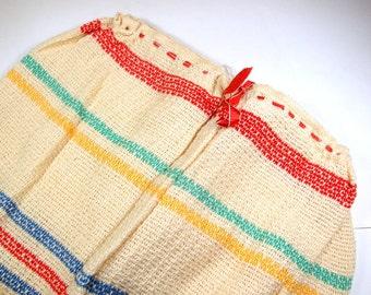 Vintage Dish Towel, Dish Cloth Pants, Kitchen Decor, Kitschy, Stripes  (445-13)