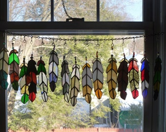 the latest crop  Indian Chief  Eagle Feather  stained glass with Beads