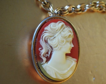 Victorian style vintage 70s cameo necklace with locket pendant- brooch.