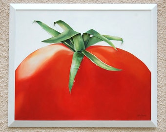 Big Tomato Painting Stalk Sculpted in Fabric 3 Dimensional Vibrant Red Green Wall Art