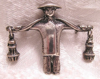 Vintage Sterling Asian Water Carrier Figural Brooch with Dangling Buckets B4