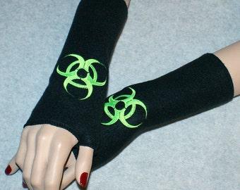 Embroidered Biohazard  Fleece Arm Warmers Black / Neon Green MTCoffinz
