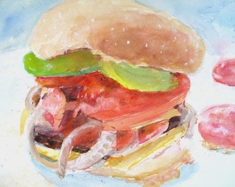 Original Watercolor * POP ART * HAMBURGER With The Works * Art By Rodriguez