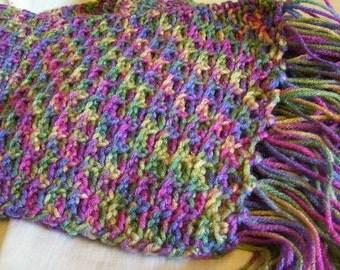 "hand crocheted 60"" scarf with fringe multicolor jean denim blue gold green fuchsia"