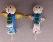 2 Vintage Miniature Wood Holiday Figures Cake Toppers Angels HCT115