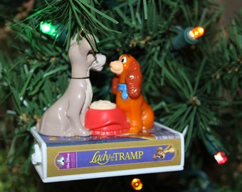 Lady and The Tramp Recycled  Repurposed Disney Christmas Ornament