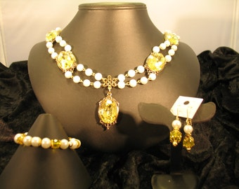 "Elizabethan ""Isolde"" Pearl Necklace set with Yellow Faceted Crystal Cabochons in Gold Filigree Settings"