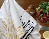 "Flour Sack Tea Towel  Screen Printed  ""Dripped"" pattern in Gold or Black"