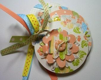 Peach and Blue Flower Mini Scrapbook Album, Mini Flower Album, Flower Photo Album, Flower Brag Book, Mini Flower Scrapbook,