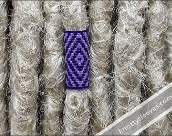 Geometric Dreadlock Bead - Peyote Stitch Dread Sleeve - Hair Bead - Loc Jewelry - Purple Haze
