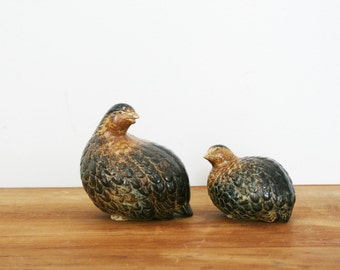 vintage Pair of Quails or Partridge Birds- Momma and Baby Shelf Sitter Figures Figurines