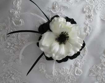 Black And Cream White Silk Anemone Feather Hair Clip