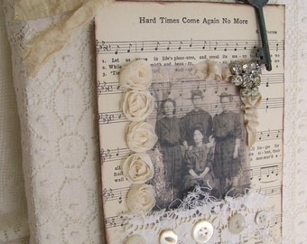 Handmade Lace Collage Altered Lace Wall Hanging Vintage Lace Decor Vintage Rhinestone Mixed Media Collage Shabby White Decor Cottage Style
