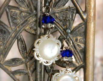 Blue and White-Antique Victorian Hand Carved Mother of Pearl Cuff Link Assemblage Earrings