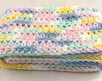 Kid Size Pretty Pastels snuggly 100 percent cotton crochet scarf