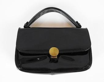 Black Patent Handbag Handle Purse 1960s