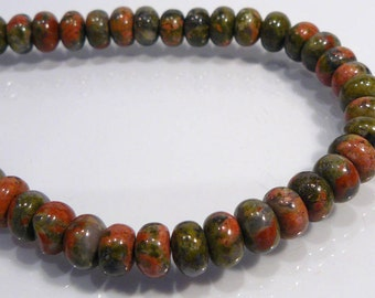 8 Beads....Unakite Smooth Puffed Gemstone Rondelle Beads...10x6mm...BB