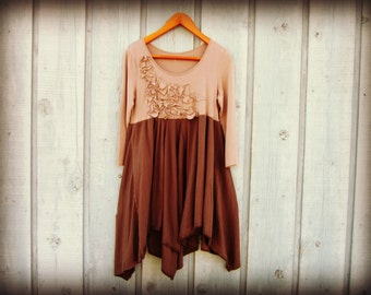 Sm-Med Bohemian Tunic Top Dress// Taupe Brown// emmevielle