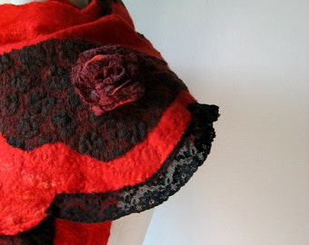 Felted Red Scarf with Black Vintage Lace and 3D Roses     TANGO