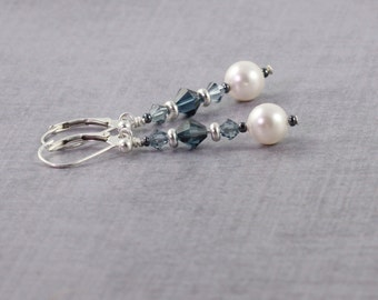 Winter Wedding, White Pearl Earrings, Dark Blue Crystal Jewelry, Blue and White Bridal Jewelry, Sterling Ear Wires