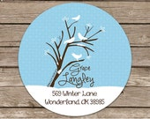 Lovely Winter Day-- --address or name or party stickers--choose size--glossy or matte