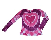 Tie Dye Shirt in Pink, Hot Pink and Magenta with a Hot Pink Heart- Girls and Adult Sizes Available