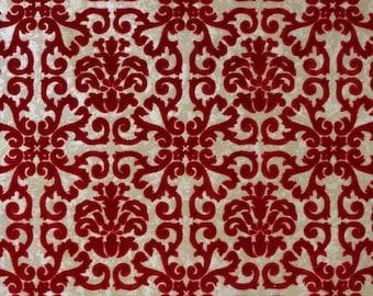 1970s Vintage Wallpaper Red Flocked Geometric on Metallic Gold