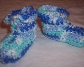 Shades of Blue Baby Booties