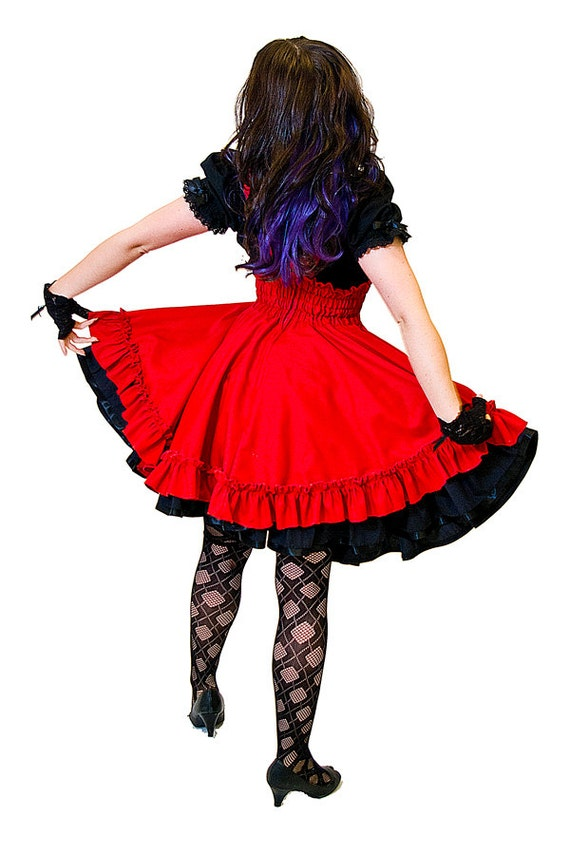 Gothic Lolita Dress - Costume Red Jumper High Waisted Skirt- Petite to Plus size - Custom to your size XS-5XL