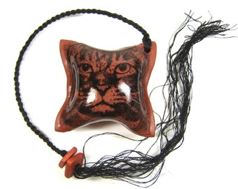 RATTLE, Cat Come Home Meditation Rattle, Handmade One of a Kind Earthenware Rattle with Cat Face, Textured Back and Waxed Linen Tail