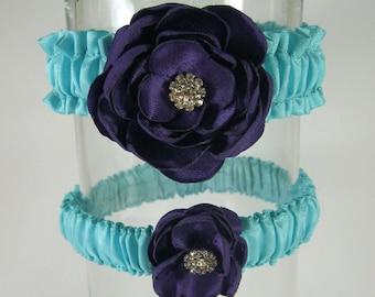 Bridal Garter Aqua Blue Plum Purple Rose Set E121 - bridal garter accessory