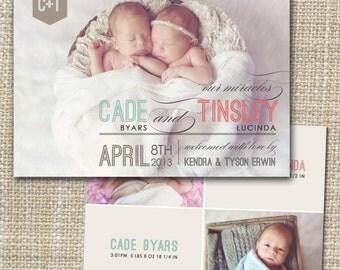 birth announcement, twins birth announcement, twins photo birth announcement, twin baby announcement - mixed modern.