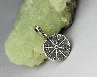 Aegishjalmur - tiny silver charm, Nordic symbol