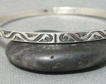 Southwest Design Pattern Sterling Silver Bangle Bracelet, Handmade Artisan Sterling Bangle