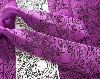Boy's necktie - pre tied clip on 14 inches long, Paisley Skull tie design