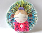 Button Jewellery, Art Doll Pin, Fabric Brooch, Button Brooch, Mixed Media Brooch