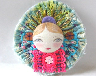 Art doll brooch, fabric Brooch, Button face art, Textile Pin, Statement Brooch, Cute doll brooch, Stitched Fabric Art