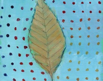 Beech Leaf with Rainbow Dots - original art, small painting, affordable, one of a kind art by Irene Stapleford