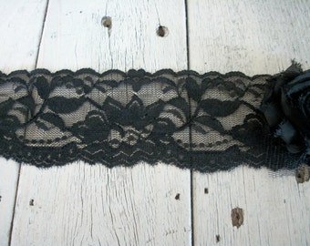 WIDE Stretch Lace BLACK No 399-2 inch -2 yards for 2.99