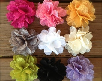 LINEN FLOWERS 3  inches-Choose 3, 6, or 8