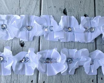 New-WHITE RUFFLED RHINESTONE Trim  1 yard