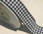 """Black Woven Houndstooth Trim - May Arts Ribbons - 1 1/2"""" - 3 Yards"""