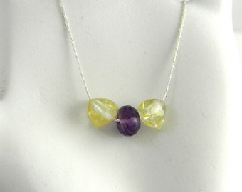 "Golden Rutilated Quartz and Amethyst Minimalist Understated Chic 17"" Sterling Delicate Silver necklace."