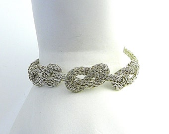 """Sterling Silver Flat Triad Infinity Knot Hand Woven Trichinopoly Ribbon Bracelet 7.5"""""""