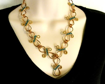 Y Shaped Necklace Hand Forged Copper Infinity Swirl Links with Teal Blue Swarovski Crystal Accents