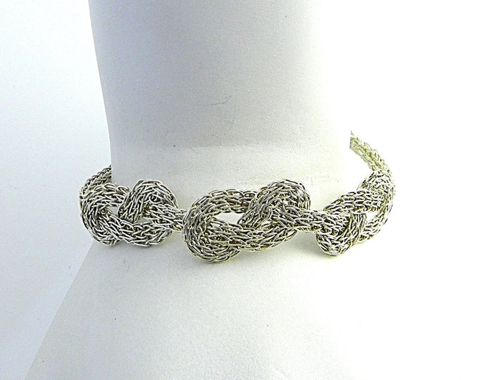 """Featured listing image: Sterling Silver Flat Triad Infinity Knot Hand Woven Trichinopoly Ribbon Bracelet 7.5"""""""