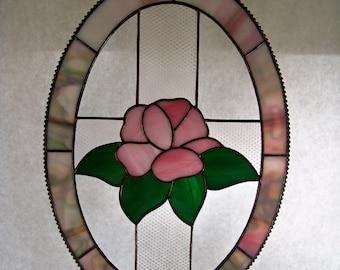 Rose Oval Stained Glass Suncatcher