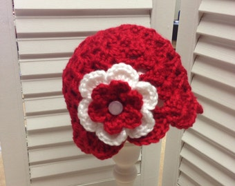 Crocheted Baby Girl Valentines Hat Boutique Style Photo Prop Gift