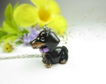 Dachshund keychain, Dachshund gift, Dachshund key chain, dog key ring black, dog lover gift, dog gift, miniature animal polymer clay charm