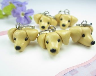 Labrador Stitch markers set of 5, knitting accessories, Labrador gifts, labrador retriever, yellow lab, dog lover gifts, polymer clay charms